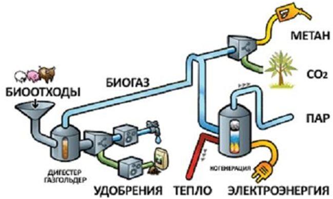 получение биогаза схема