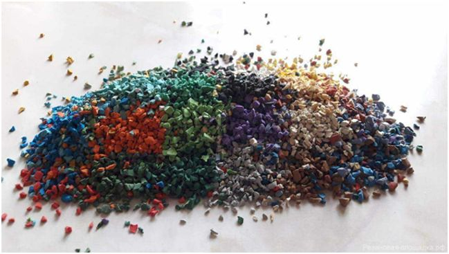 разноцветная резиновая крошка