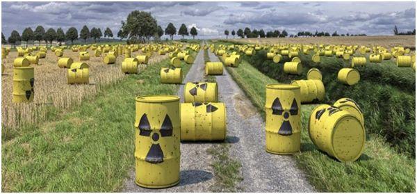 радиоактивные бочки на поле